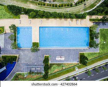 Top down aerial view of rectangle swimming pool