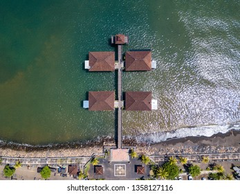 Top down aerial view of Singaraja pier in Bali, Indonesia