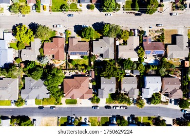 Top down aerial view of urban houses and streets in a residential area of a Sonoma California United States