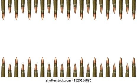 Top and down bullets borders isolated on white background. 7.62 mm cartridges for a Kalashnikov assault rifle