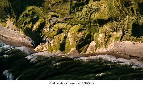 Top down drone image of cliffs at the coast