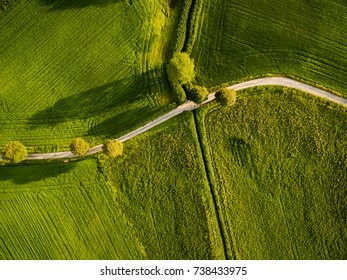 Top down drone image of curved road