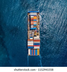 Top down photo of a container ship