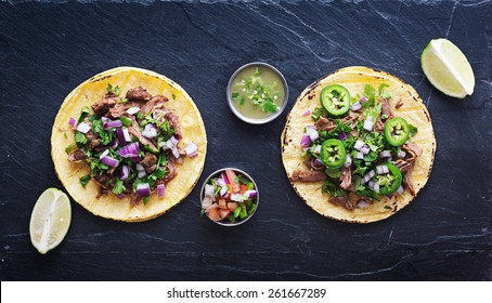 top down photo of two authentic mexican tacos
