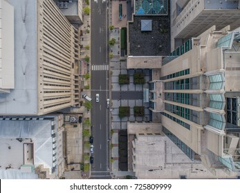Top down view above tall buildings in Raleigh, North Carolina.