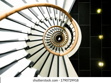 Top Down View of Beautiful Stairwell Architecture with Black and White contrast