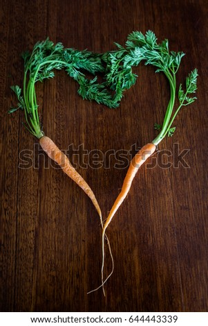 Top Down View Carrots Formed Into Stock Photo Edit Now 644443339