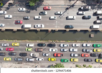 Top down view of  cars and the traffic jam on Sathon Road in Bangkok Thailand
