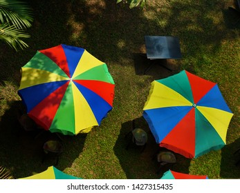 Top down view of colorful garden umbrellas against green lawn grass,