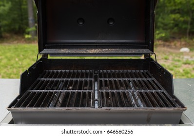 Top down view of empty barbecue grill for cooking in the summertime.