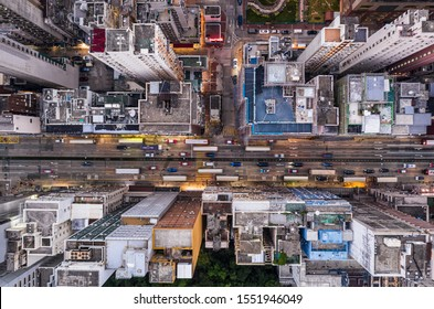 Top down view of the famous Nathan Road in Yau Ma Tei district in Kowloon, a densely populated district in Hong Kong