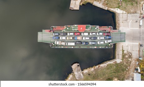 top down view of ferryboat. Ferryboat transferring cars. Ferry transfers cars and passengers to the other side