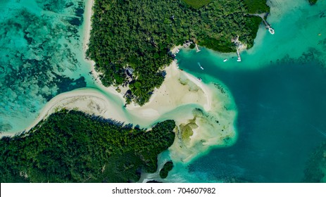 Top Down view of Iles Aux Cerfs and Ilot Mangenie islands, Mauritius, drone view