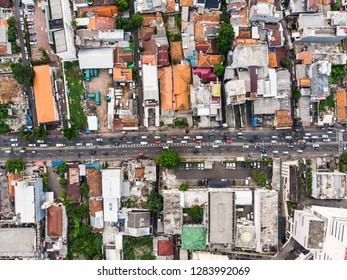 Top down view of Jakarta residential district in Indonesia, the largest city in Southeast Asia