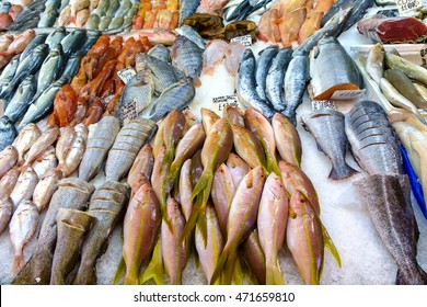 Top down view on multiple rows of various raw freshly caught fish on ice for sale