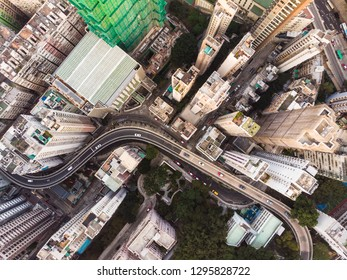 Top down view of a road through the very dense Hong Kong island Kennedy town district in Hong Kong SAR in China