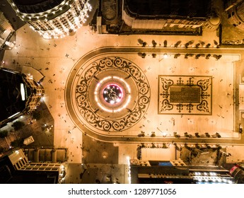 Top down view of Skopje, Macedonia main city square