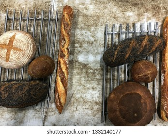 A top down view of some freshly baked loafs of bread