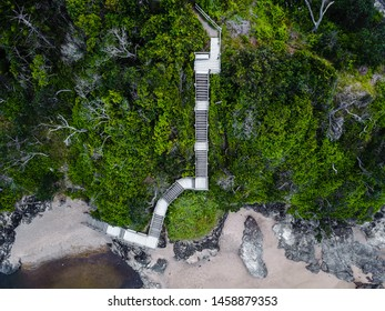 Top Down View of Staircase on Cliffside