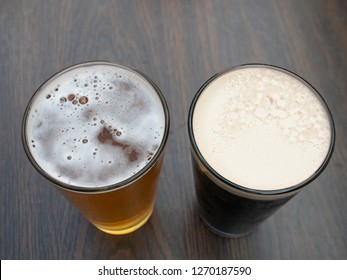 Top Down View of Two Craft Beers on a Table