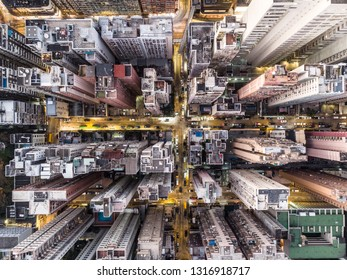 Top down view of the very densly populated North Point district in Hong Kong island with many tall apartment building and some office tower in Hong Kong SAR, China