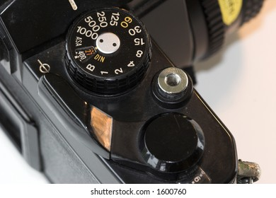 Top down view of vintage camera