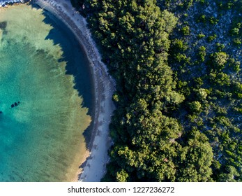 Top drone view at Saplunara beach on island Mljet in Croatia
