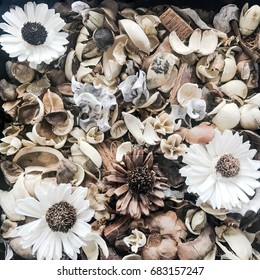 Top of dry flowers in vintage tone ,background texture,flat lay concept