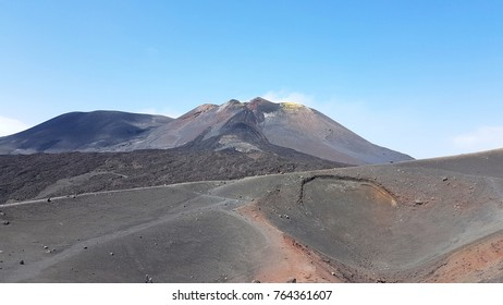 At the top of the etna volcano - italy