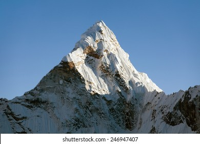 Top of evening mount Ama Dablam - way to Everest base camp - Nepal