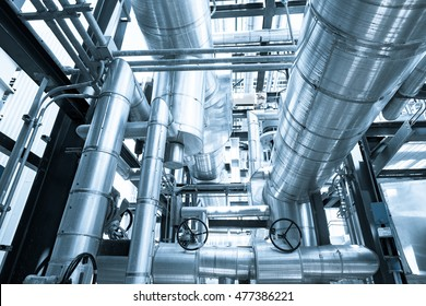 Top floor of boiler or Heat Recovery Steam Gas of combined cycle power plant against blue sky