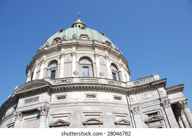 The top of Frederik's Church popularly known as The Marble Church in Copenhagen