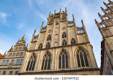 The top of the front facade of the Historical City Hall in Munster, Germany