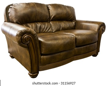 Top Grain Leather Loveseat Sofa with Nail Head Trim
