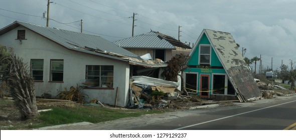 Top half house in street 25 feet from bottom of house in the aftermath of hurricane Michael in Mexico beach Florida