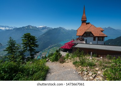 Top of Harder Kulm, view at river Aare and Lake Brienz
