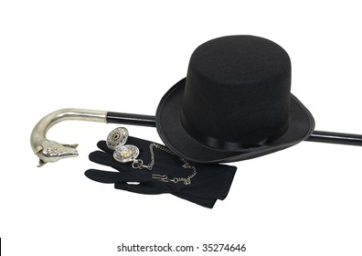 Top hat, cane, pocket watch and gloves give a sophisticated look for formal events - path included