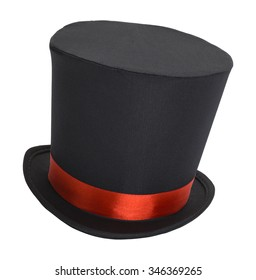 Top Hat with Red Ribbon Isolated on White.