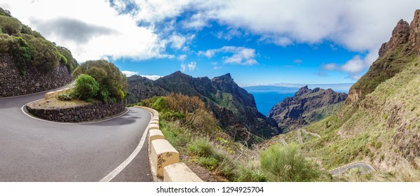 Top iconic view of Teno mountains Gorge and road to the village of Maska in Tenerife. Canary Islands. Spain.