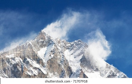 top of Lhotse and Nuptse with windstrom and snow clouds on the top