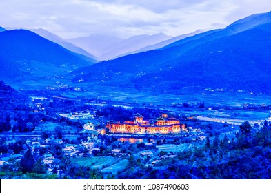 Top light view of Punakha Dzong , Bhutan at night
