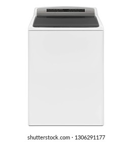 Top Load Washer with Integrated Control Panel Isolated on White. Side and Top View of White Fully Automatic Top Loading Washing Machine. Domestic and Household Appliances. Home Innovation