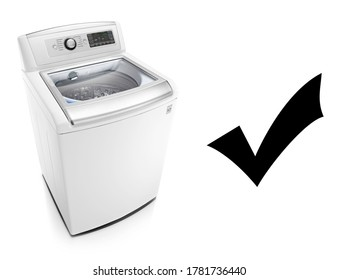 Top Load Washer with Integrated Control Panel Isolated on White. Domestic and Household Major Appliances. Home Innovations. Side Top View of White Top Loading Washing Machine 4.5 Cu. ft. Capacity