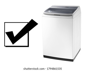 Top Load Washer with Integrated Control Panel Isolated on White Background. Side View of White Top Loading Washing Machine 4.5 cu. ft. Capacity. Domestic and Household Appliances. Home Innovation