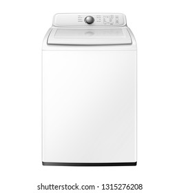 Top Load Washing Machine Isolated on White. Front View of White Fully Automatic Top Loading Washer with Integrated Control Panel. Domestic Appliances. Home Innovation. Household Electrical Equipment