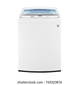 Top Loader Washing Machine Isolated on White Background. Front View of White Top-Load Washer with Electronic Control Panel. Domestic and Household Appliances