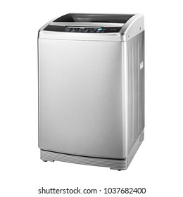 Top Loading Washing Machine Isolated on White Background. Side View of Stainless Steel Freestanding Top Load Washer. Household and Domestic Appliances.