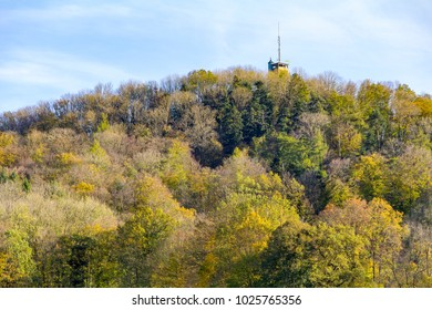top of a look-out at a hill named Einkorn near Schwaebisch Hall at autumn time