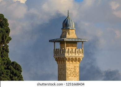 Top of minaret on the Temple Mount near Al-Aqsa on dramatic sky background
