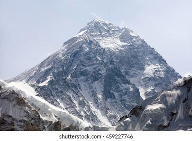 Top of Mount Everest from Kala Patthat, way to Everest base camp, Sagarmatha national park, Khumbu valley, Nepal